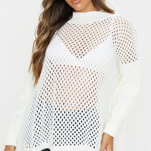 Pretty Little Thing High Neck Open Knit Sweater S